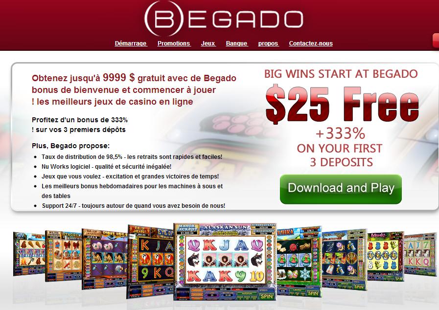 Begado: 25$ gratuit (bonus sans dépôt)
