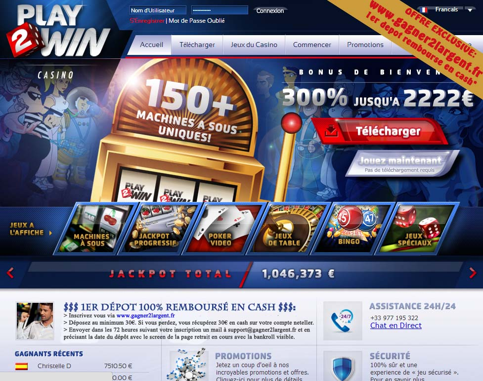 Play2win: Offre exclusif SATISFAIT OU REMBOURSE
