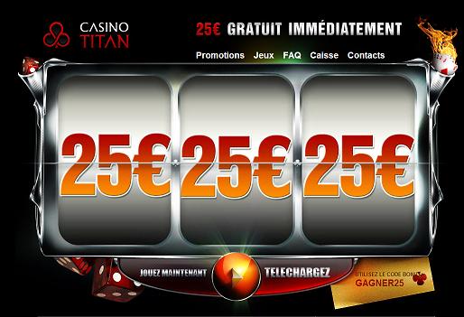 Titan Casino: 25€ gratuit (bonus sans dépôt)