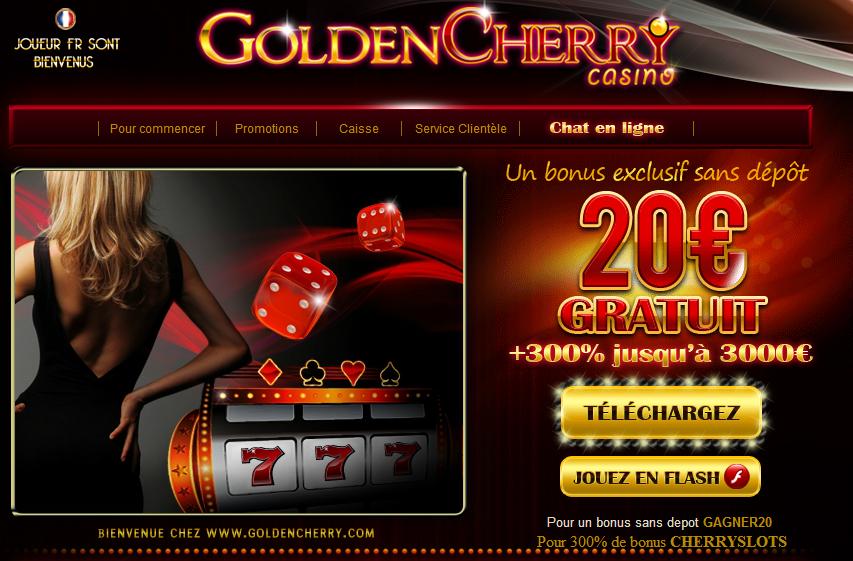 Goldencherry: 20€ gratuit (bonus sans dépôt)