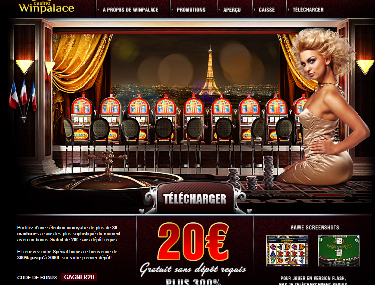 Winpalace: 20€ gratuit (bonus sans dépôt)